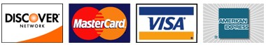 We accept VISA, Mastercard, American Express and Discover credit cards.