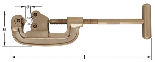 Ampco Non-Sparking, Non-Magnetic & Corrosion Resistant Safety Pipe Cutter, d max (in) 2  a (in) 4  l (in) 17