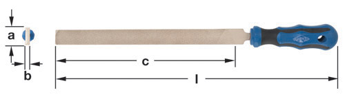 Ampco Non-Sparking, Non-Magnetic & Corrosion Resistant Safety File, Flat, Bastard, a (in) 13/16  b (in) 3/16  c (in) 10-1/2  l (in) 15