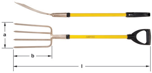 Ampco Non-Sparking, Non-Magnetic & Corrosion Resistant Safety Fork, Garden, a (in) 7  b (in) 11-1/2  l (in) 40