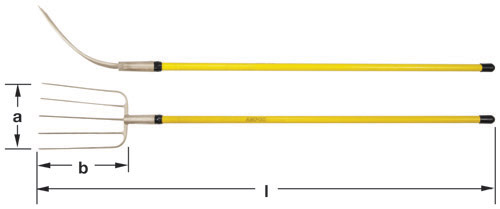 Ampco Non-Sparking, Non-Magnetic & Corrosion Resistant Safety Fork, Manure, a (in) 9  b (in) 13  l (in) 65-1/2