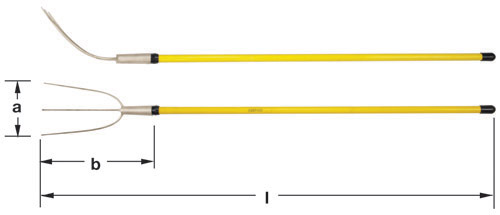 Ampco Non-Sparking, Non-Magnetic & Corrosion Resistant Safety Fork, Hay, a (in) 7  b (in) 11-1/2  l (in) 65-1/4