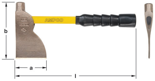 Ampco Non-Sparking, Non-Magnetic & Corrosion Resistant Safety Hatchet, a (in) 3-5/8  b (in) 6-1/2  l (in) 14