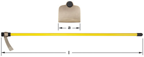 Ampco Non-Sparking, Non-Magnetic & Corrosion Resistant Safety Hoe, Planters'/Mixing, Angled Blade, a (in) 7-3/4  l (in) 55