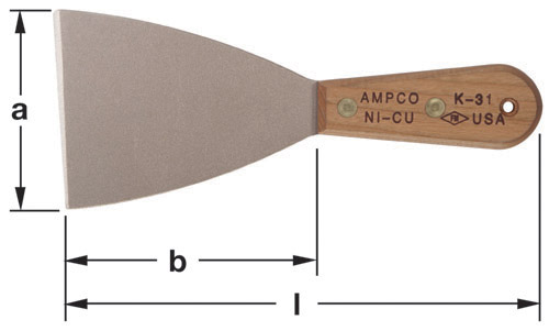 Ampco Non-Sparking, Non-Magnetic & Corrosion Resistant Safety Knife, Putty/Hand Scraper, Flexible Blade, a (in) 3-1/2  b (in) 4-1/2  l (in) 8-1/2