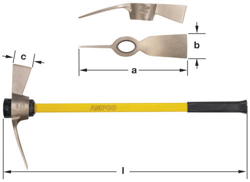 Ampco Non-Sparking, Non-Magnetic & Corrosion Resistant Safety Mattock, a (in) 16-1/4  b (in) 3-7/8  c (in) 3  l (in) 36-1/4