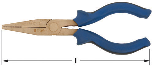 Ampco Non-Sparking, Non-Magnetic & Corrosion Resistant Safety Pliers, Flat Nose, l (in) 6-1/4