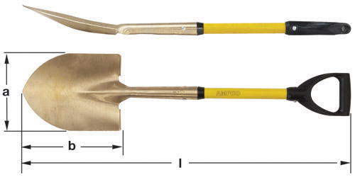 Ampco Non-Sparking, Non-Magnetic & Corrosion Resistant Safety Shovel, Round Point with D-Grip, a (in) 9  b (in) 11-1/4  l (in) 37