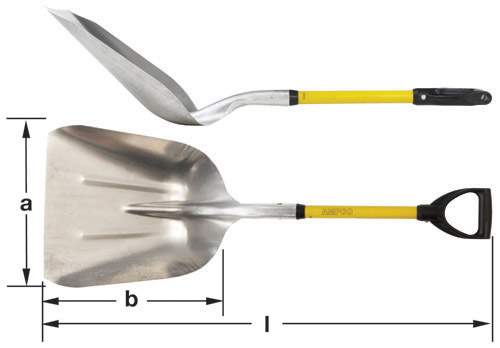Ampco Non-Sparking, Non-Magnetic & Corrosion Resistant Safety Shovel, Scoop with D-Grip, a (in) 14  b (in) 17  l (in) 40