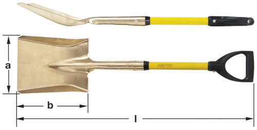 Ampco Non-Sparking, Non-Magnetic & Corrosion Resistant Safety Shovel, Square Point with D-Grip, a (in) 9  b (in) 11  l (in) 37