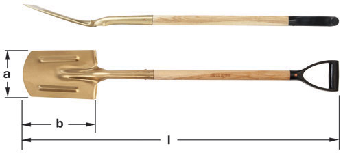 Ampco Non-Sparking, Non-Magnetic & Corrosion Resistant Safety Spade, Edging with D-Grip, a (in) 7-1/4  b (in) 11  l (in) 46-1/2