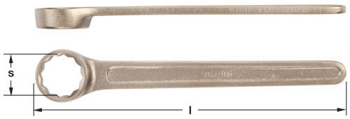 Ampco Non-Sparking, Non-Magnetic & Corrosion Resistant Safety Wrench Single End Box, 12-Point, l (mm) 155, l (in) 7-1/2