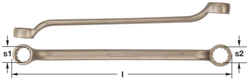 Ampco Non-Sparking, Non-Magnetic & Corrosion Resistant Safety Wrench, Double End Box, Offset Type