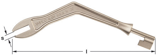 Ampco Non-Sparking, Non-Magnetic & Corrosion Resistant Safety Wrench, Gas & Water Shut-off, s (in) 1/2  l (in) 11-1/2