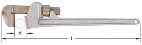 Ampco Non-Sparking, Non-Magnetic & Corrosion Resistant Safety Wrench, Adjustable Pipe, Aluminum, l (in) 10