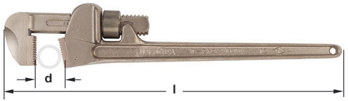 Ampco Non-Sparking, Non-Magnetic & Corrosion Resistant Safety Wrench, Adjustable Pipe, Bronze, l (in) 8