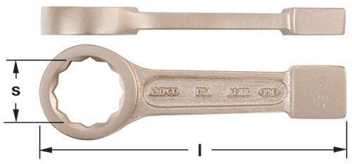 Ampco Non-Sparking, Non-Magnetic & Corrosion Resistant Safety Wrench, Striking Box, 12-Point