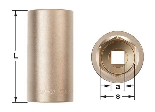 """Ampco Sockets, Deep Well, 6-Point, 1/4"""" Drive, Metric , 50mm Long"""