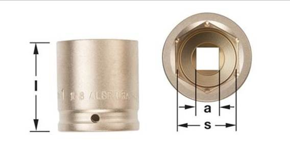 "Ampco Non-Sparking, Non-Magnetic, Corrosion Resistant Standard Impact Sockets, 6-Point, 1/2"" Drive, Inch, 1-3/16 Long"