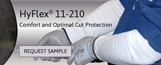 Ansell HyFlex 11-210 and 11-211 sleeves feature cut resistant INTERCEPT Technology yarn with ANSI Cut Level 2, 50 each