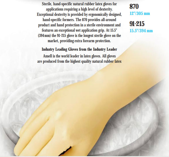 Ansell Sterile, hand-specific natural rubber latex gloves