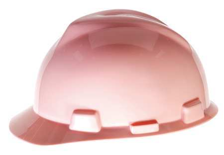 MSA Pink V-Gard Polyethylene Slotted Cap Style Hard Hat With Staz On 4 Point Pinlock Suspension