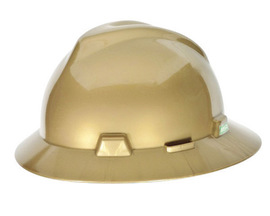 MSA Gold V-Gard Polyethylene Slotted Full Brim Hard Hat With Fas Trac Ratchet Suspension