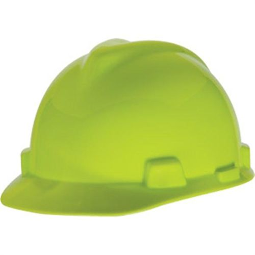 MSA V-Gard Standard Slotted Cap w/ Fas-Trac Suspension, Bright Lime Green