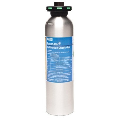 MSA Econo Cal Calibration Gas, 34 Liter, 60 ppm CO, 20 ppm H2S, 15% O2, 1.45% CH4, 10 ppm SO2