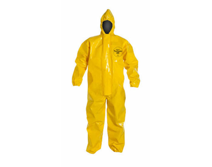 Dupont Safespec chemical-resistant coverall is made of tychem 9000