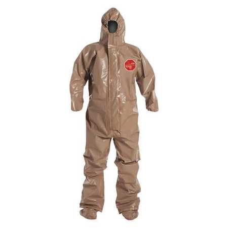 Dupont Hooded Chemical Resistant Coveralls with Attached Gloves Cuff, Tychem 5000 Material, Tan