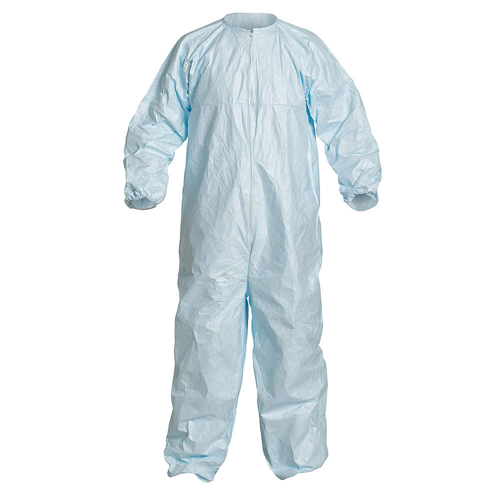 Dupont Collared Disposable Coveralls with Elastic Cuff, Tyvek Micro-Clean Material, Blue