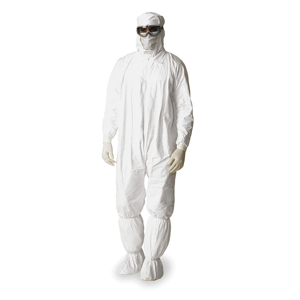 Dupont Hooded Disposable Coveralls with Elastic Cuff, Tyvek IsoClean Material, White