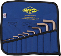 Ampco Non-Sparking, Non-Magnetic, Corrosion-Resistant Wrenches, Hex Key, 10 pc Kit, Inch