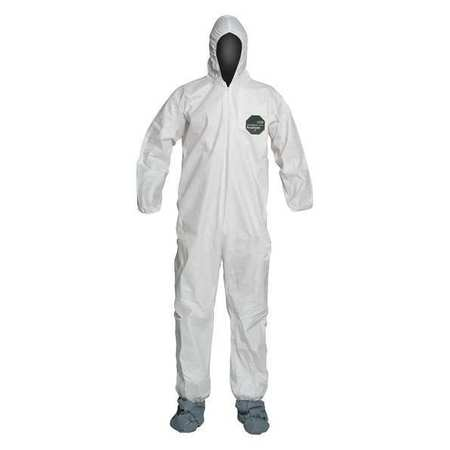 DuPont  Hooded Disposable Coveralls with Elastic Cuff, White, 2XL.