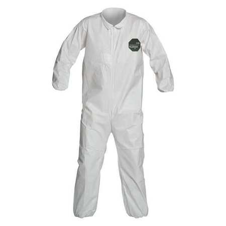 DuPont Collared Disposable Coveralls with Elastic Cuff, Microporous Film Laminate Material, White, 2XL