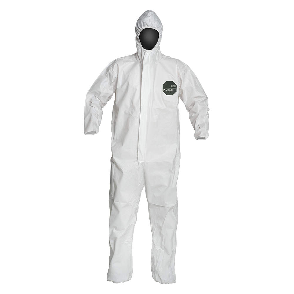 Dupont Hooded Disposable Coveralls with Elastic Cuff, Microporous , White, 2XL