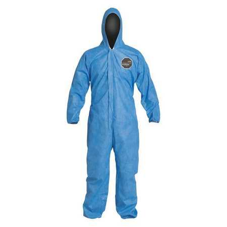 Dupont Hooded Disposable Coveralls with Elastic Cuff, Blue