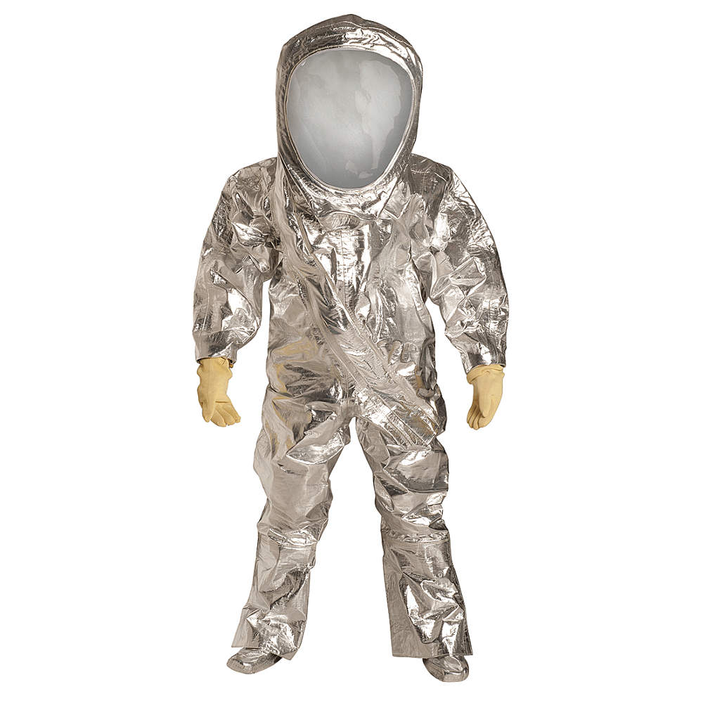 Dupont Collared Disposable Coveralls with with Attached Gloves Cuff, Tycheml, Silver, 2XL