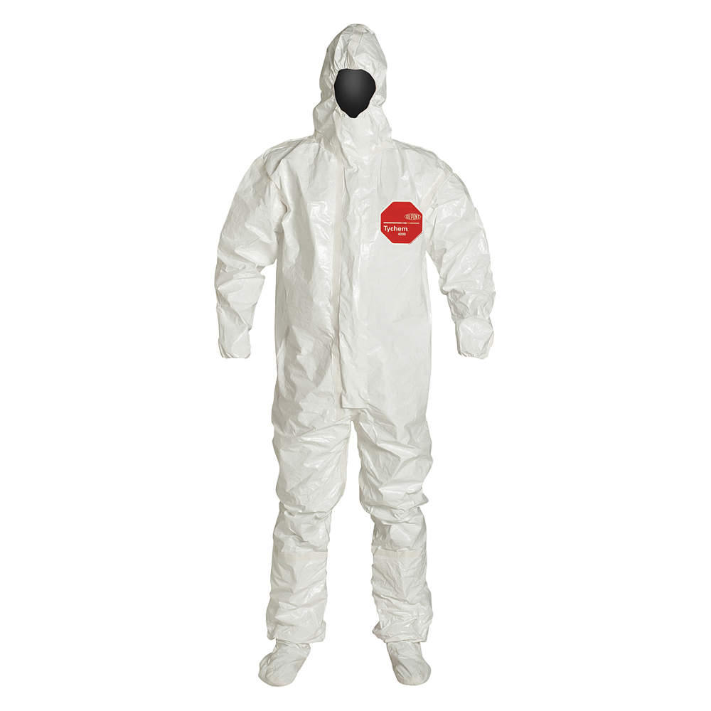 Dupont Coveralls with Elastic Cuff, Tychem 4000 Material, White, 2XL