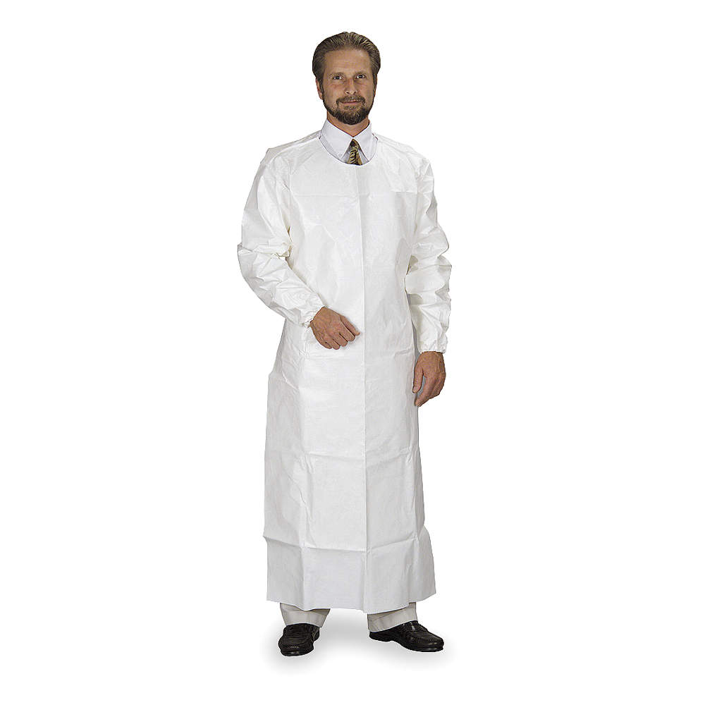 """Dupont Chemical Resistant Sleeve Apron, White, 52"""" Length, 26"""" Width, Tychem 4000 Material"""