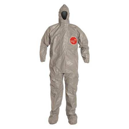 Dupont Hooded Chemical Resistant Coveralls with Elastic Cuff, Tychem 6000 Material, Gray, 2XL