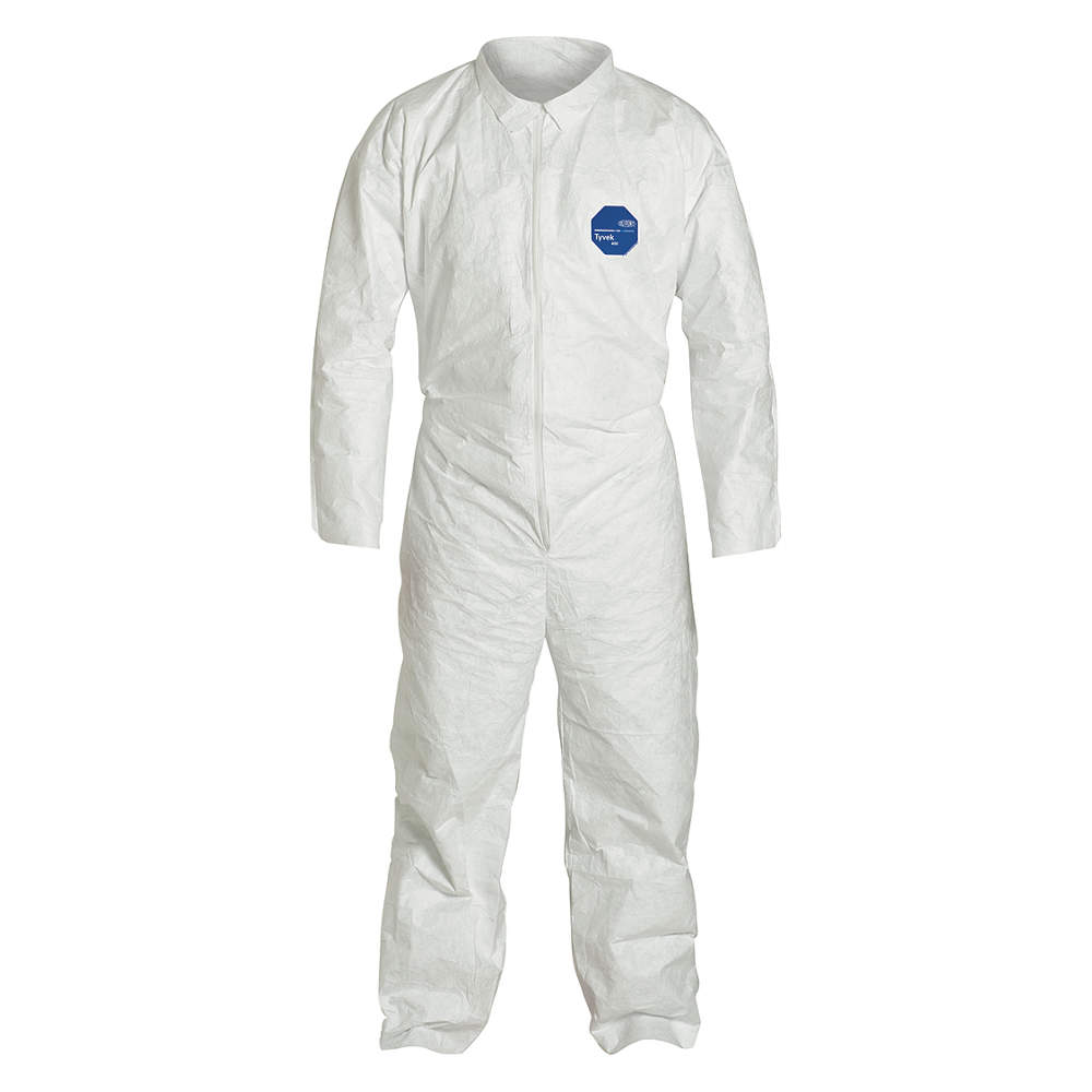 Dupont Collared Disposable Coveralls with Elastic Cuff, Tyvek 400, White, 2XL