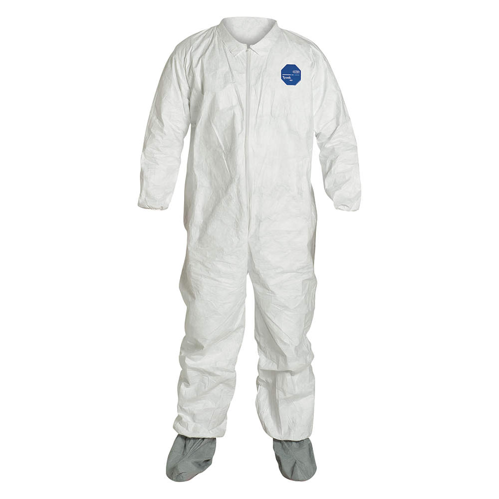 Dupont Coveralls with Elastic Cuff, Tyvek 400, White, 2XL