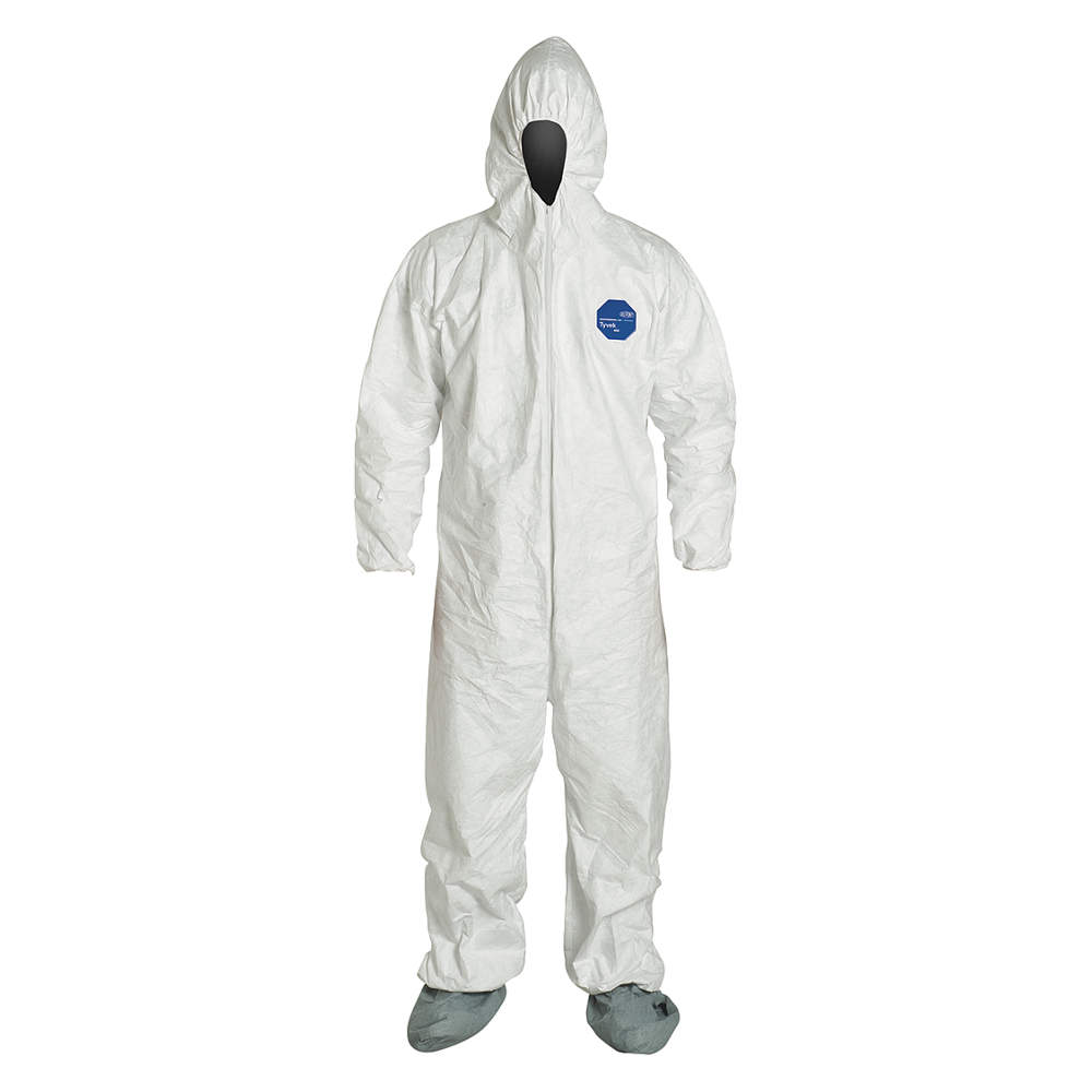 DUPONT Hooded Coverall w/Attached Boot,Wht,2XL