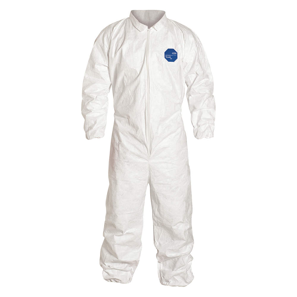 DUPONT Collared Coverall,Elastic,White,2XL