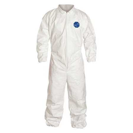 DuPont White Tyvek Disposable Coveralls With Front Zipper Closure, Collar, Elastic Waist, Set Sleeves, Elastic Ankles And Elastic Wrists