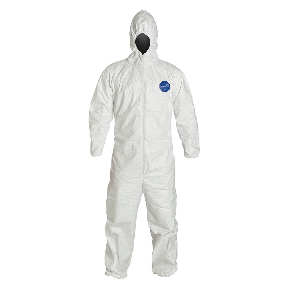 Dupont Hooded Disposable Coveralls with Elastic Cuff, Tyvek, White, 2XL