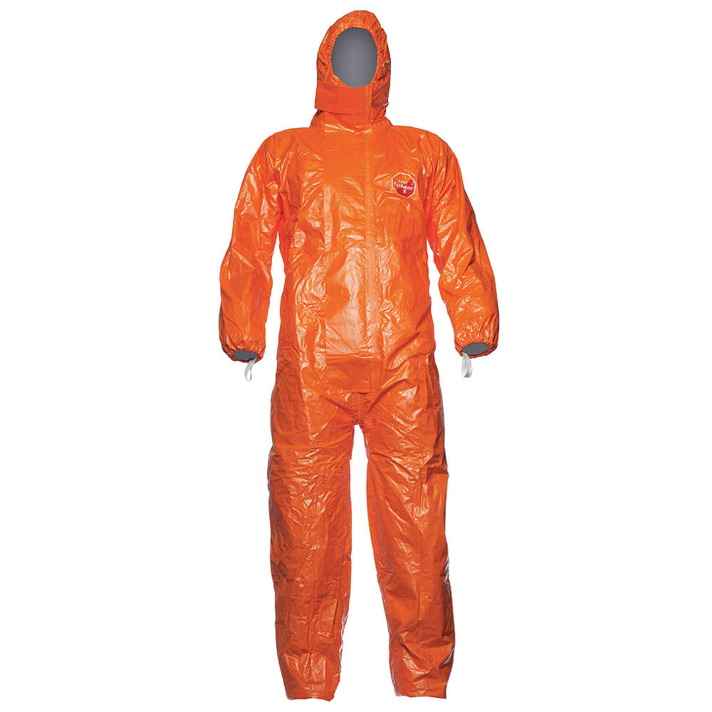 DuPont Hooded Coverall with Elastic Cuff, Orange, 2XL, Tychem 6000