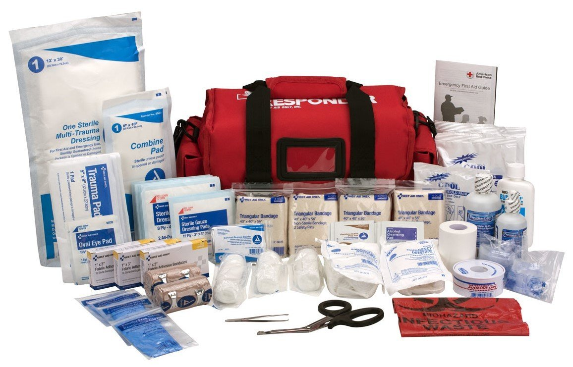 First Aid Only First Responder Kit, Large Red Bag, 158 Pieces